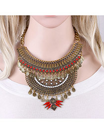 Exaggerated Antique Gold Oval Shape Diamond Decorated Hollow Out Design Necklace