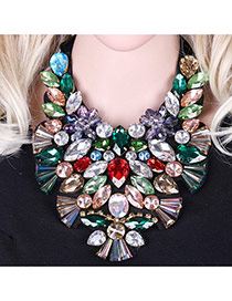 Exaggerated Multi-color Water Drop Shape Diamond Decorated Hollow Out Collar Necklace