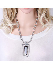 Vintage Silver Color Hollow Out Irregular Shape Pendant Decorated Simple Necklace