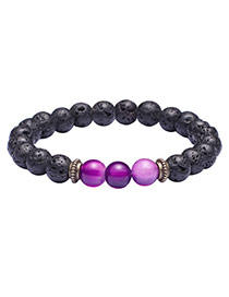 Fashion Purple+black Color Matching Design Simple Buddha Beads Bracelet