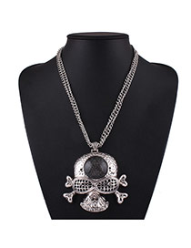 Fashion Silver Color Skull Pendant Decorated Double Layer Short Chain Necklace