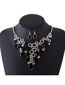 Fashion Blue Oval Shape Diamond Decorated Hollow Out Design Jewelry Sets