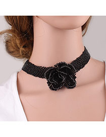 Fashion Black Big Flower Decorated Pure Color Simple Choker