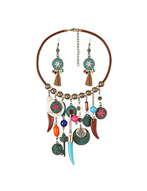 Fashion Multi-color Wolf Tooth&coins&round Shape Pendant Deocrated Simple Jewelry Sets