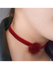 Fashion Red Fuzzy Ball Decorated Pure Color Design Choker