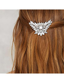 Fashion White Oval Shape Diamond Decorated Pure Color Hair Clip