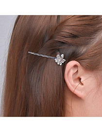 Fashion Silver Color Flower Decorated Pure Color Design Hair Clip