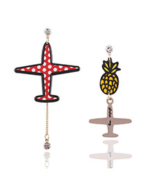 Fashion Red+yellow Pineapple&plane Pendant Decorated Simple Earrings