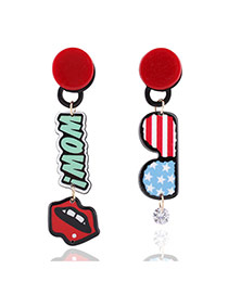Fashion Multi-color Lip&eys Pendant Decorated Simple Earrings