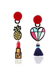 Fashion Multi-color Heart Shaoe&pineapple Pendant Decorated Simple Earrings