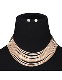 Elegant Gold Color Pure Color Decorated Short Chain Simple Jewelry Sets