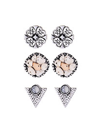 Fashion White+silver Color Diamond Decorated Hollow Out Irregular Shape Earrings(3pcs)