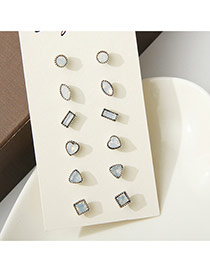 Fashion White Diamond Decorated Irregular Shape Simple Earrings (6pcs)