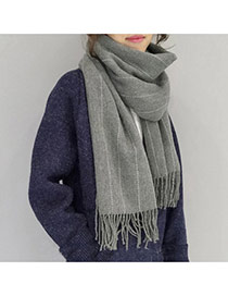 Fashion Gray Imaginary Line Pattern Decorated Tassel Design Simple Scarf