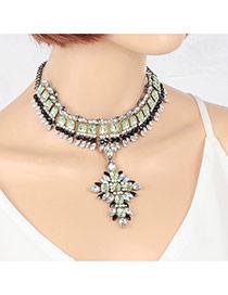 Retro Green Square Shape Diamond Decorated Short Chain Necklace
