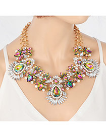 Exaggerate Multi-color Water Shape Diamond Decorated Short Chain Necklace