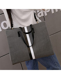 Fashion Dark Gray Color-matching Decorated Square Shape Bag