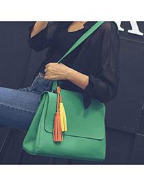 Delicate Green Tassel Decorated Pure Color Design Bag