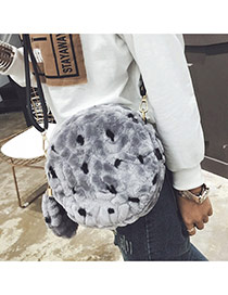 Cute Gray Fuzzy Ball Penndant Decorated Round Shape Bag