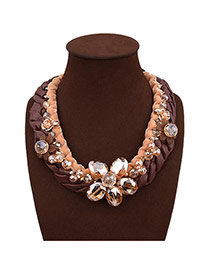 Exaggerate Coffee Flower Decorated Multilayer Design Hand-woven Necklace