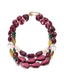 Vintage Purple Stone Shape Decorated Short Chain Simple Necklace