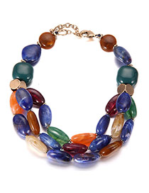 Trendy Multi-color Oval Shape Decorated Short Chain Multilayer Necklace
