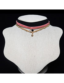 Fashion Gold Color+black +pink Metal Star Shape Pendant Decorated Multilayer Choker