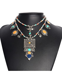 Bohemia Multi-color Geometric Shape Decorated Double-layer Necklace