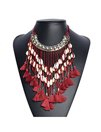 Bohemia Red Shell&tassel Decorated Short Chain Necklace