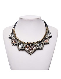 Fashion Brown Square Shape Diamond Decorated Simple Necklace