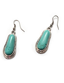 Vintage Silver Color+green Geometric Shape Stone Decorated Simple Sets