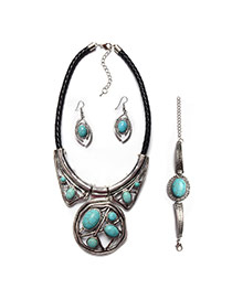 Vintage Silver Color+green Irregular Geometric&stone Decorated Simple Jewelry Sets