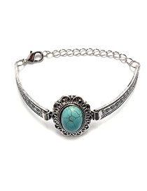 Vintage Silver Color+green Oval Gemstone Decorated Simple Bracelet