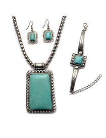 Vintage Silver Color+green Rectangle Shape Stone Pendant Decorated Simple Jewelry Sets