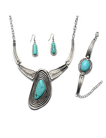 Vintage Green+silver Color Irregular Shape Gemstone Decorated Simple Jewelry Sets