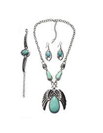 Fashion Green+silver Color Metal Wing Shape Pendant Decorated Simple Jewelry Sets