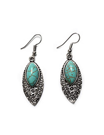 Fashion Green+silver Color Oval Shape Gemstone Pendant Decorated Simple Short Chain Necklace