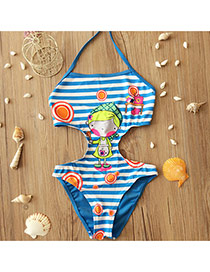 Cute Blue Stripe&girl Pattern Decorated One-piece Kids Swimwear