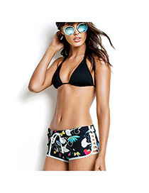Sexy Black Flower Pattern Decorated Boxers Design Bikini