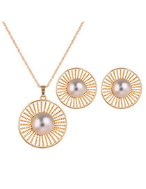 Fashion Gold Color Metal Round Shape Decorated Simple Long Chain Jewelry Sets