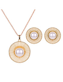 Fashion Gold Color+white Metal Round Shape Decorated Simple Long Chain Jewelry Sets