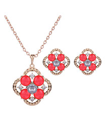 Lovely Gold Color +plum Red Flower Shape Pendant Decorated Hollow Out Jewelry Sets