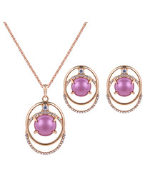 Lovely Gold Color+purple Round Shape Gemstone Decorated Hollow Out Jewelry Sets