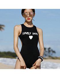 Sexy Black Letter&heart Shape Pattern Decorated One-piece Bikini