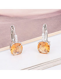 Exquisite Yellow Square Diamond Decorated Simple Earring