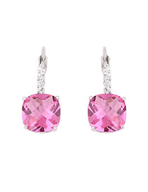 Exquisite Pink Square Diamond Decorated Simple Earring