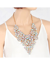 Exquisite Multi-color Round Shape Decorated Hollow Out Short Chain Necklace