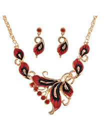 Exquisite Red Butterfly Shape Decorated Simple Jewelry Sets