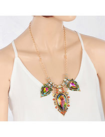 Elegant Multi-color Big Waterdrop Pendant Decorated Long Chain Necklace