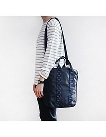 Fashion Navy Blue Pure Color Decorated Men Waterproof Travel Bag